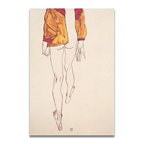 baodanla Kein Rahmen Egon Schiele Körperfarbe Abgrenzung Skizze Abbildung Leinwand Kunstdruck ng Poster, Wandbilder Für Wohnzimmer, Home 30x40 cm
