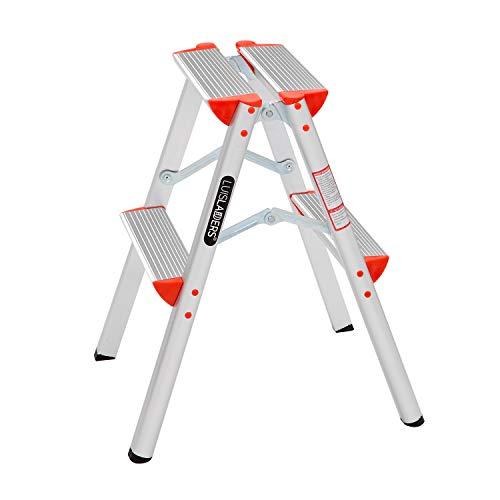 LUISLADDERS 2 Step Ladder Lightweight Aluminum Step Stool Folding Stepladder with Anti-Slip Pedal (330lbs)