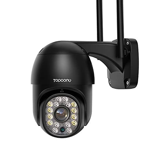 Topcony Camara Vigilancia WiFi Exterior, 1080P PTZ Camara de Seguridad IP con Visión Nocturna en Color de 30M, Detección de Movimiento, Audio de 2 Viasl, Adecuado para Garaje, Jardín y Granja