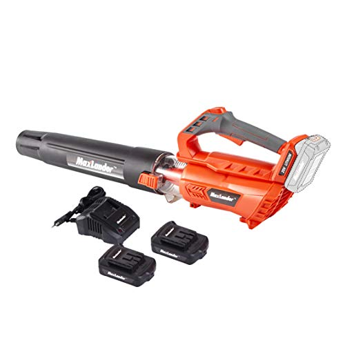 MaxLander Leaf Blower Cordless, 20V Battery Powered Leaf Blower with 2x2.0Ah Battery and Fast Charger,Battery Sweeper 350CFM Lightweight Powerful Axial Flow High Efficiency