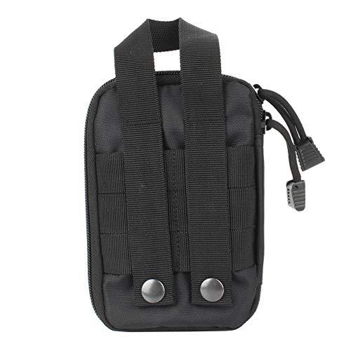 Riñonera de emergencia bidireccional con cremallera de alta calidad, bolsa médica con cable mudo, adecuada para cualquier entorno(black)
