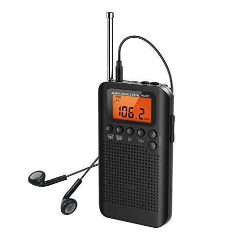 Portable Radio FM AM Sports Mini Pocket Radio LCD Display with Headphones, Built-In Pedometer for Gym Sports Running Walking (AK104BK)