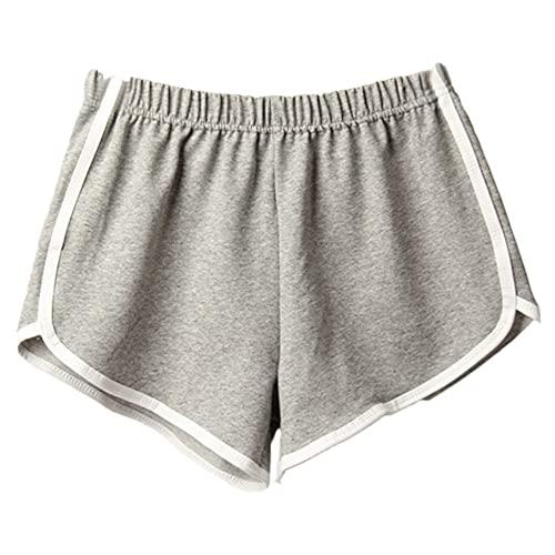 N\P Pantalones cortos deportivos de verano para mujer, pantalones cortos casuales, para correr, gris, L