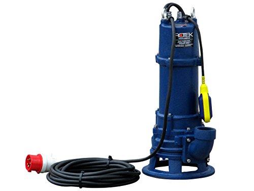 Rotek 1,5kW / 400V elektrische Schmutzwasser Tauchpumpe mit Schredderwerk (Häcksler) und Stahlgehäuse