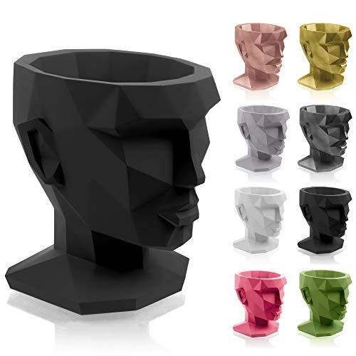 concrette Vaso per Fiori, Cemento, Nero Opaco, 21x17x22 cm
