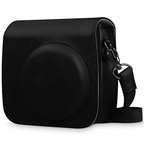 Fintie Protective Case Compatible with Fujifilm Instax Mini 8 Mini 8+ Mini 9 Instant Camera - Premium Vegan Leather Bag Cover with Removable Strap, Vintage Black