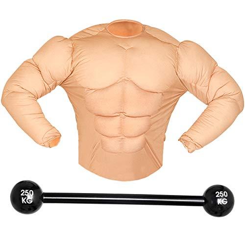 Herren Kostüm Gewichtheber | Muskel-Shirt und aufblasbares Gewicht | Verkleidung Pumper Muskelprotz Boxer | Lustiges Kostümset für Fasching & Karneval (M)