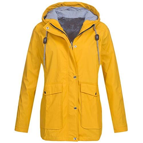 Buby Women's Waterproof Jacket Outdoor Quick Dry Raincoat Windproof Casual Zipper Windbreaker with Hood Women Breathable Jacket Waterproof Trench Coat Drawstring Solid Colour Cardigan Tops Sweater