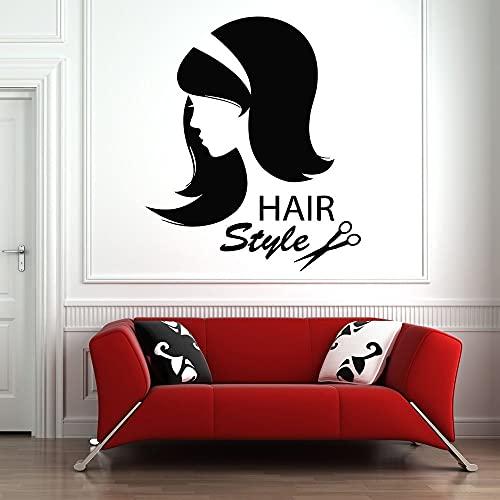HGFDHG Pegatinas de Pared peluquería Mujer Hermosa Pegatinas de Vinilo decoración de Ventana Arte salón de Belleza decoración de Pared patrón de Estilo