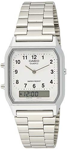 CASIO Collection AQ-230A-7BMQYES - Reloj unisex de cuarzo, correa de acero inoxidable...