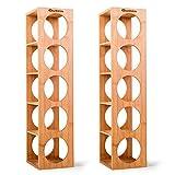 Quttin - Pack de 2 Botelleros apilables de bambú 5 cavidades, Talla única 53 x 13 x 13,5...
