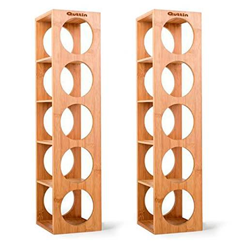 Quttin - Pack de 2 Botelleros apilables de bambú 5 cavidades, Talla única 53 x 13 x 13,5 cm. Estantes, Soportes de Madera con 5 baldas para Botellas de Vino. Estantería, Organizador de Bebidas Cocina