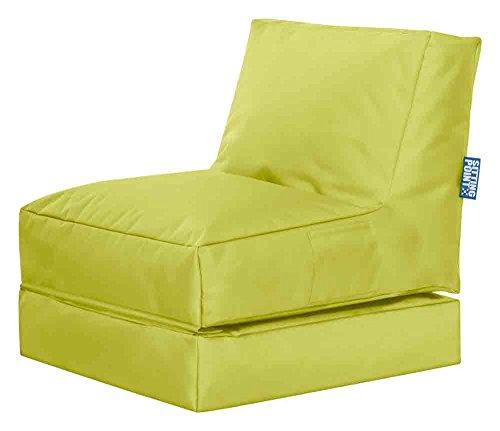 lifestyle4living Sitzsack für draußen in Grün aus wasserabweisendem Microfaserstoff | Bequemer Sitzsackstuhl und Liegesack, 300 l