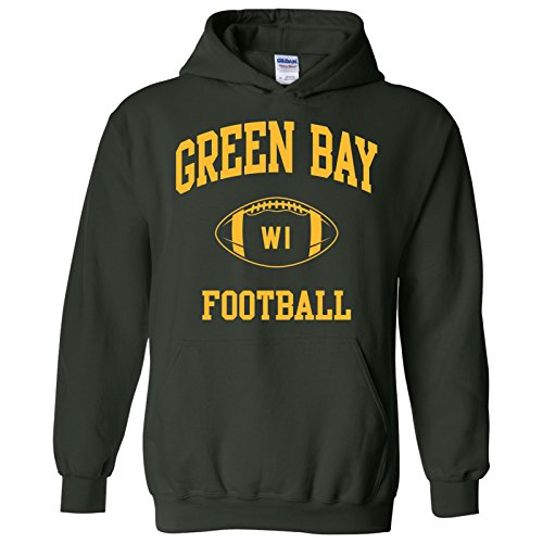Green Bay Classic Football Arch American Football Team Sports Hoodie - Large - Forest
