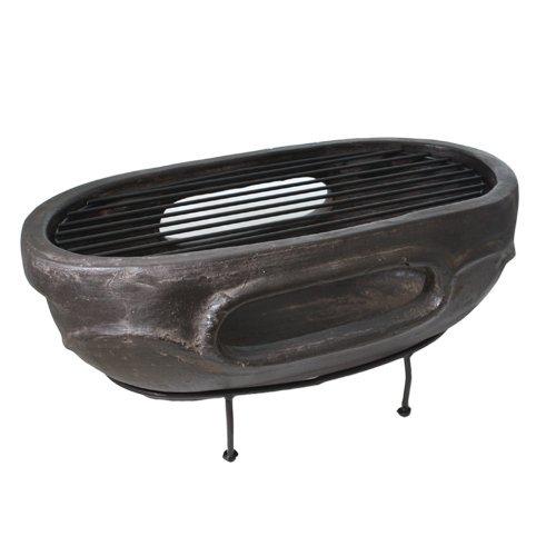 Ovale Esterno Carbone Pietra Argilla Barbecue Da Tavolo Focolare–Patio Garden