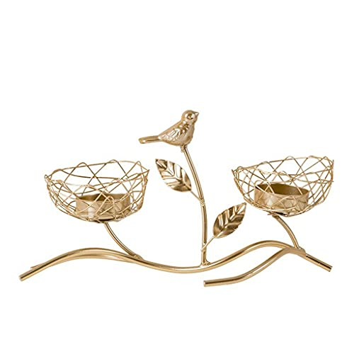 zxb-shop Candle Holder Light Luxury Wrought Iron Bird Candle Holder Creative Decoration Decoration Table Romantic Candle Lamp Home Restaurant Decoration Candlestick (Color : Gold)