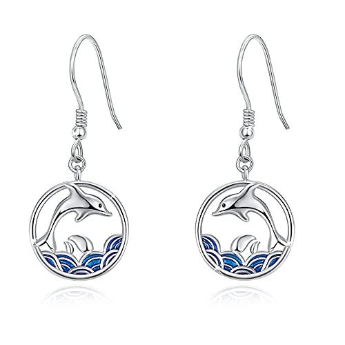 Delfine Ohrringe 925 Sterling Silber Delfine Hänge Ohrringe Meer Tier Ohrhänger Schmuck für Mädchen Damen