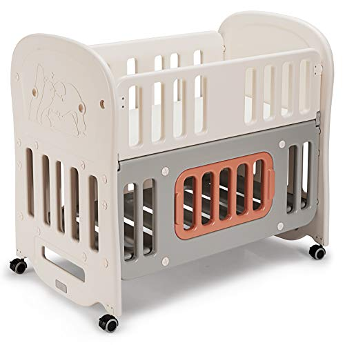 GYMAX Baby Crib Bed, Infant 6-In-1 Cot Bed as Bedside Bassinet, Playpen, Rocking Crib or Sleeping Bed, Included Mattress, Detachable Rollers and Storage Space