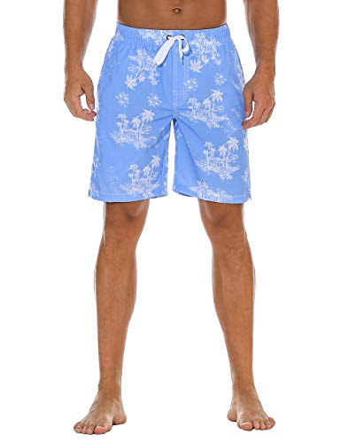 Nonwe Men's Beachwear Quick Dry Summer Holiday Printed Board Shorts Blue 40