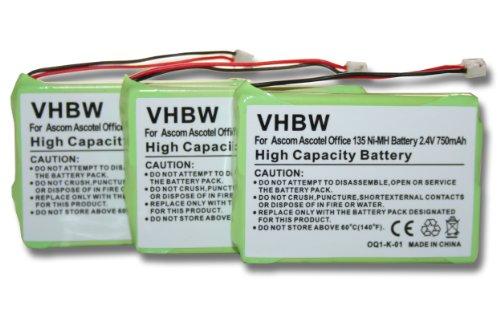 3 x vhbw Set baterías 750mAh para teléfono Fijo inalámbrico Ascom Ascotel Office 135, Office 135pro, DeTeWe Aastra por 2010