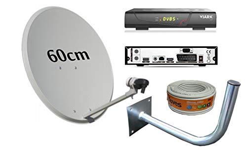 Kit Antena PARABOLICA 60CM TECATEL + Receptor SATELITE VIARK Sat