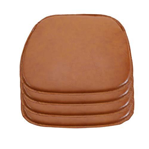 DORAFAIR 4er Set Stuhlkissen Leder Eckig Sitzkissen Sitzauflage Gepolstert für Stühle in Haus und Garten, 39 x 38 x 2 cm, Kamel