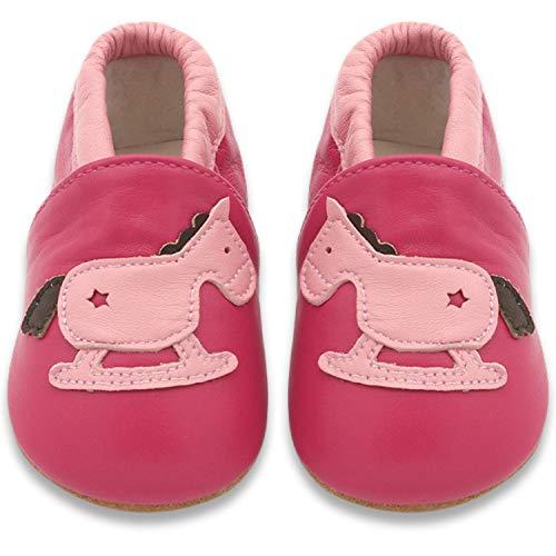 BAOLESEM Baby Lauflernschuhe Jungen Krabbelschuhe Mädchen Weicher Leder Kleinkind Babyhausschuhe Rutschfesten Wildledersohlen, Pink Pferd, 18-24 Monate