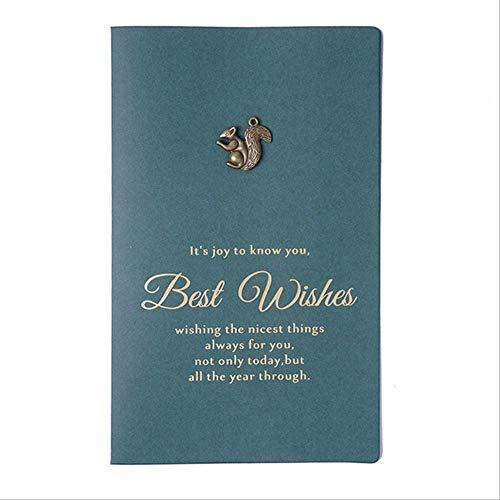 Wenskaarten BLTLYX Premium speciaal papier Vintage metaal vouwen stempelen wenskaart Bedankkaart Handgemaakte verjaardagskaart Vakantie Cardenvelope 17,2 * 10,5 cm eekhoorn