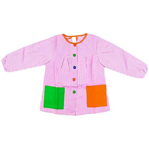 H HANSEL HOME Bata Escolar Infantil Baby Infantil de Cuadros Pequeños (Rosa, 5-6 años)
