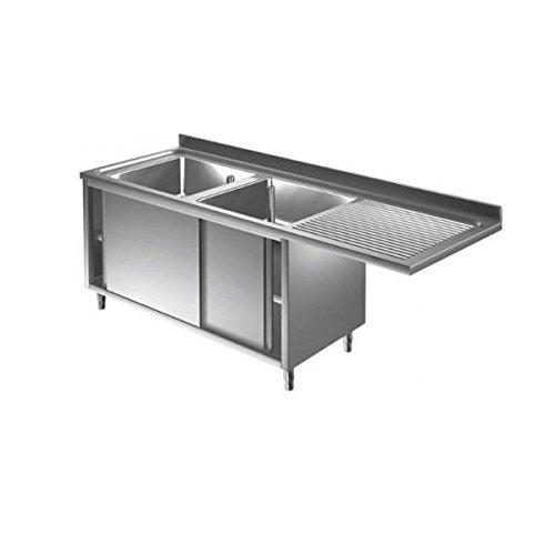 Lavoir inoxydable armadiato 2 cuves + égouttoir DX/SX pour lave-vaisselle Dim.CM 180 x 70 x 85h