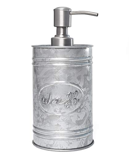 "Autumn Alley Galvanized Soap Dispenser for Hand wash, Sanitizer, Lotion, Dish Soap – Rust-Proof Liquid Soap Container with Pump for Kitchen/Bathroom – Charming Farmhouse ""Wash"" Label Design, 17.5 oz."