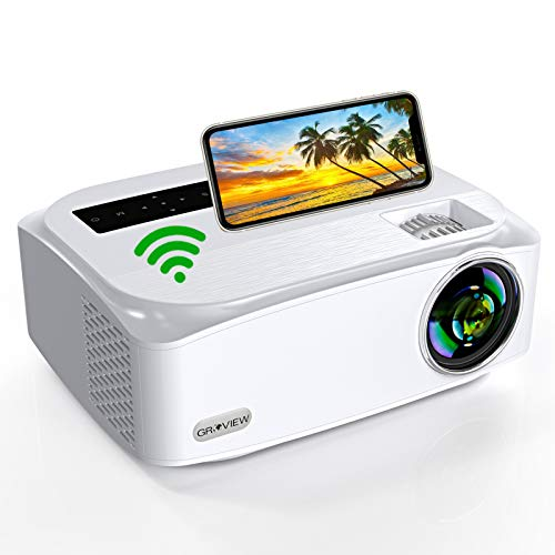 WiFi Beamer, Groview Native 1080P Video Projektor, 8000Lux mit Zoom Funktion, Unterstützt 5G+2,4G WiFi, Unterstützt 4K, 300\'\' Bildschirm, Kompatibel mit iPhone, Android, TV Stick, HDMI, VGA, USB, PS4.