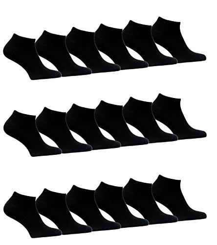 BestSale247 12 Paar Damen Mädchen Sneaker Socken Füßlinge Baumwolle 35-38 Schwarz