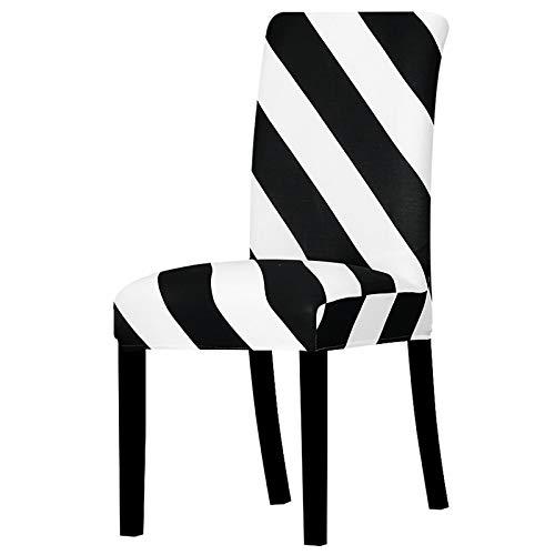 UIRK Esszimmer Stretch Stuhlhussen,Modern Dining Chair Protector Zebradruck Klassiker Abnehmbare Waschbare Elastische Spandex Stuhlsitzbezüge Für Hotelhochzeitsbankett, 4 Stück/Packung