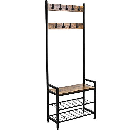 Ballucci Industrial Shoe Bench Coat Rack 3-Tier Hall Tree Entryway Organizer Storage Shelf Free Standing Wood Accent with Metal Hooks and Frame 3 in 1 Design Rustic Brown