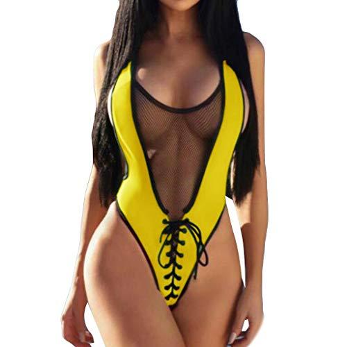 QingJiu Frauen Jumpsuit Push-Up Gepolsterter BH Sport Strand Bikini Einteilige Badebekleidung(Gelb,Large)