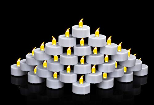 50 Pack Flameless Candles Tea Lights, Led Battery Operated Candles, Fake Flickering Warm Yellow Battery Powered for Party, Wedding, Birthday, Gifts and Home Decoration