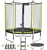 Kangui - Trampoline de Jardin 244 cm + Filet de sécurité + échelle + bâche de Protection + kit d'ancrage JUMPI Pop 250