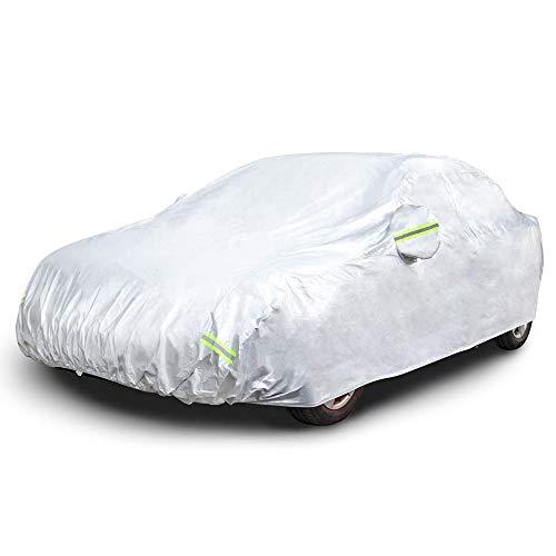 Sipobuy Universal Wasserdicht, Atmungsaktiv, Staubdicht, UV Und Alle Wetter Schutz, Kratzfest Limousinen Auto Abdeckung Atmungsaktiv Baumwolle Gefüttert Heavy Duty (S:400 * 160 * 120CM)