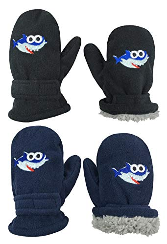 N'Ice Caps Little Kids and Baby Easy-On Sherpa Lined Fleece Mittens - 2 Pair Pack (Black Sharks/Navy Sharks, 2-3 Years)