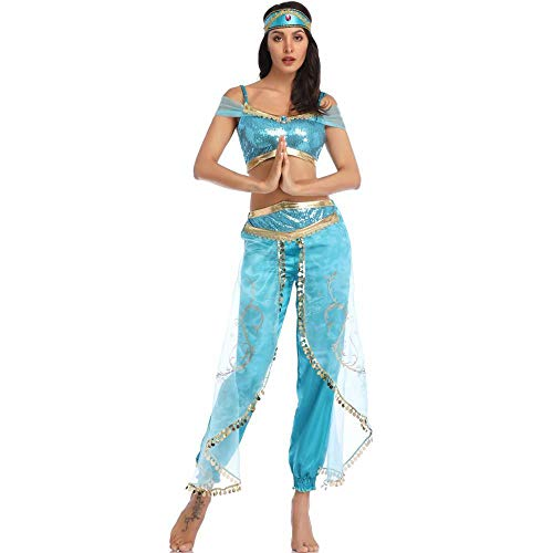 fagginakss Disfraz de Jasmine Mujer Vestido Traje Princesa para Halloween Cosplay Fiesta Carnaval Crop Top Lentejuelas Brillantes con Pantalones