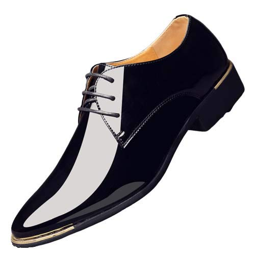 AZLLY Moda Uomo Scarpe Formali Lace Up Punta Aguzza Commerciali Vernice Scarpe Lucide Sposa Formal Dress Shoes per Plus Size 39-48,Nero,44EU
