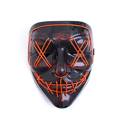 YiWu LED Maske mit 3 verschiedenen Modi - Party / DJ / Halloween /Purge Maske (Rot)