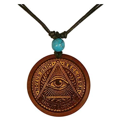 Chic-Net Damen Herren Holzkette mit Türkis Stein Holz Anhänger in rund rotbraun - verstellbar - mit Motiv Allsehendes Auge