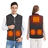 CHILIKI Heated Vest Body Warmer Vest for Men and Women Electric Heated Jacket for Winter with Rechargable Battery Included Size Adjustable for Hunting, Camping, Fishing,Black Colour