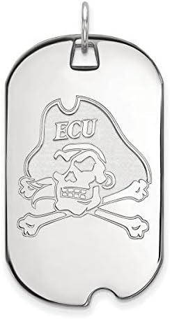 East Carolina University Pirates Mascot Logo Dog Tag Pendant in Sterling Silver