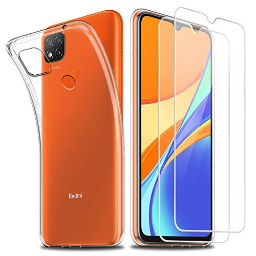 Hülle kompatibel mit Xiaomi Redmi 9C,Weich Transparent TPU Silikon Anti-Fall Handyhülle Schutzhülle mit Zwei Gehärtetes Glas Schutzfolie Bildschirmschutzfolie für Xiaomi Redmi 9C (6,53 Zoll)