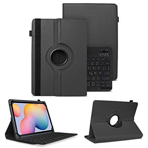 NAUC Schutzhülle kompatibel für Samsung Galaxy Tab A7 10.4 Zoll Tasche Tablet Schutz Hülle Kunstleder Bluetooth Tastatur QWERTZ 360 Drehbar Schwarz