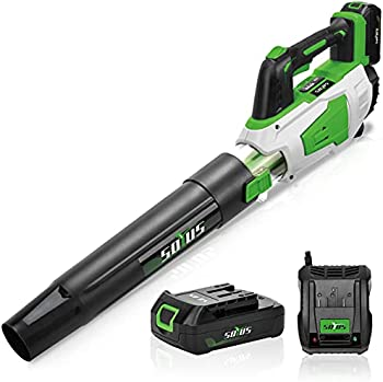 SOYUS Cordless Leaf Blower Battery and Charger Electric Leaf Blower