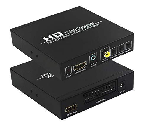 TAIPOXUN - Convertidor de euroconector a HDMI, caja de audio de vídeo, convertidor de vídeo HD euroconector a HDMI con escalador de...